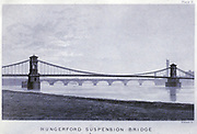 """Hungerford Suspension Bridge from the book The life of Isambard Kingdom Brunel, civil engineer. By Isambard Brunel Published in London by Longmans, Green in 1870. Isambard Kingdom Brunel FRS MInstCE (9 April 1806 – 15 September 1859) was an English civil engineer who is considered """"one of the most ingenious and prolific figures in engineering history,"""" """"one of the 19th-century engineering giants,""""and """"one of the greatest figures of the Industrial Revolution, [who] changed the face of the English landscape with his groundbreaking designs and ingenious constructions."""" Brunel built dockyards, the Great Western Railway (GWR), a series of steamships including the first propeller-driven transatlantic steamship, and numerous important bridges and tunnels. His designs revolutionised public transport and modern engineering."""