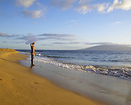 Ka'anapali Beach in Maui, Hawaii where skimboarders congregate to take advantage of the waves generated by Ka'anapali Point.  Sunset is usually calm and unpopulated and is popular with the locals.