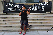 Demonstration outside Pierrefitte Mairie, for Darius, victim of a lynching, who used to live,  near Cite des Poetes, Pierrefitte-Sur_Seine<br />