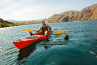 A dog takes a swim in the safety of her lifejacket. The Black Canyon, Nevada.