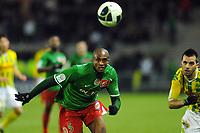 FOOTBALL - FRENCH CHAMPIONSHIP 2010/2011 - L2 - FC NANTES v CS SEDAN - 17/12/2010 - PHOTO PASCAL ALLEE / DPPI - KASSIM ABDALLAH (SEDAN) / DAMIEN TIXIER (FCNA)