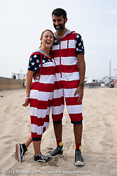 Punk rock aficionados Sarah (lead singer of the rock band Seratonen) and her husband Dr. Aalok Shah (an ER pulmonary doctor) took a break from work and their 6-kids to attend the Surf City Blitz and RSD Moto Beach Classic. Huntington Beach, CA, USA. Sunday October 28, 2018. Photography ©2018 Michael Lichter.