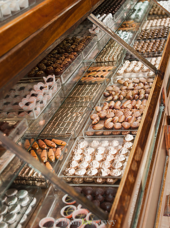 Chocolates for sale at a boutique shop in the new town in Damascus, Syria