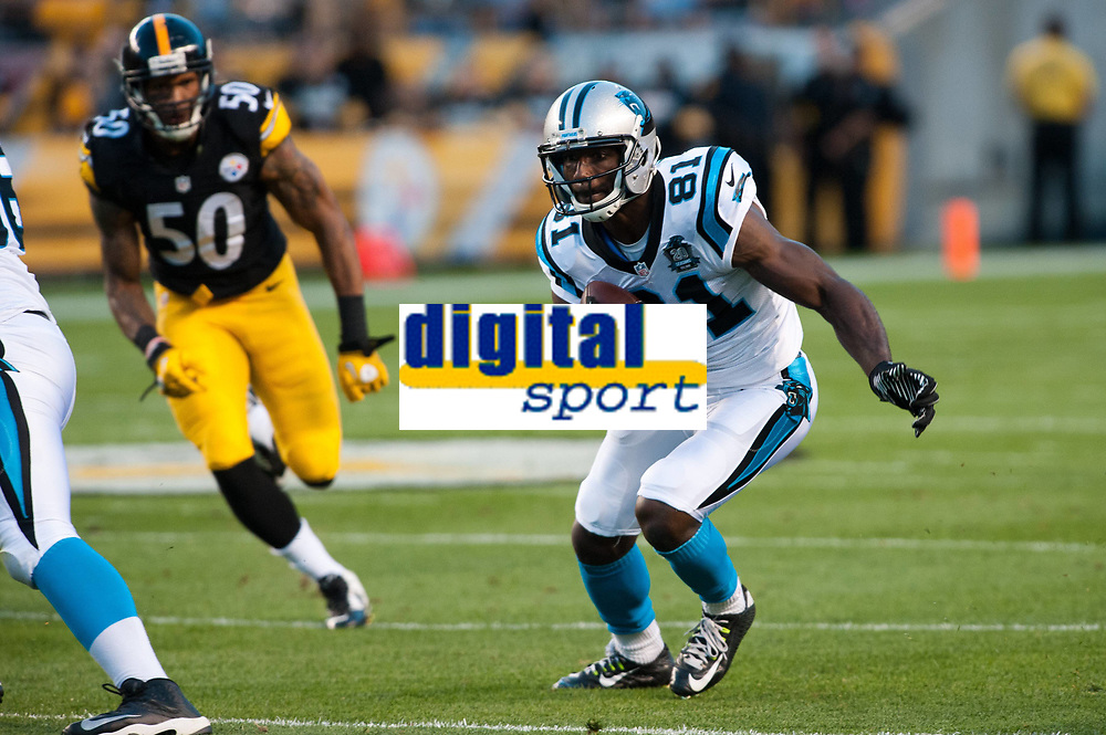 August 28 2014: Carolina Panthers wide receiver Jason Avant (81) in action during the first half of the NFL American Football Herren USA preseason game between the Carolina Panthers and the Pittsburgh Steelers at Heinz Field in Pittsburgh, Pennsylvania NFL American Football Herren USA AUG 28 Preseason - Panthers at Steelers PUBLICATIONxINxGERxSUIxAUTxHUNxRUSxSWExNORxONLY Icon14082803<br /> <br /> August 28 2014 Carolina Panthers Wide Receiver Jason Avant 81 in Action during The First Half of The NFL American Football men USA Preseason Game between The Carolina Panthers and The Pittsburgh Steelers AT Heinz Field in Pittsburgh Pennsylvania NFL American Football men USA Aug 28 Preseason Panthers AT Steelers PUBLICATIONxINxGERxSUIxAUTxHUNxRUSxSWExNORxONLY