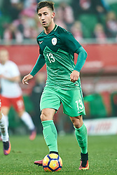 Wroclaw, Poland - 2016 November 14: Andraz Sporar of Slovenia controls the ball during Poland v Slovenia - International Friendly Soccer Match at Municipal Stadium on November 14, 2016 in Wroclaw, Poland.<br /> <br /> Adam Nurkiewicz declares that he has no rights to the image of people at the photographs of his authorship.<br /> <br /> Picture also available in RAW (NEF) or TIFF format on special request.<br /> <br /> Any editorial, commercial or promotional use requires written permission from the author of image.<br /> <br /> Mandatory credit:<br /> Photo by © Adam Nurkiewicz / Mediasport