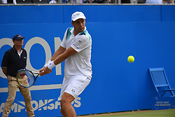 June 24, 2017 - London, England, United Kingdom - Luxembourg's Gilles Muller returns against Croatia's Marin Cilic during their men's singles semi-final tennis match at the ATP Aegon Championships tennis tournament at Queen's Club in west London on June 24, 2017. (Credit Image: © Alberto Pezzali/NurPhoto via ZUMA Press)