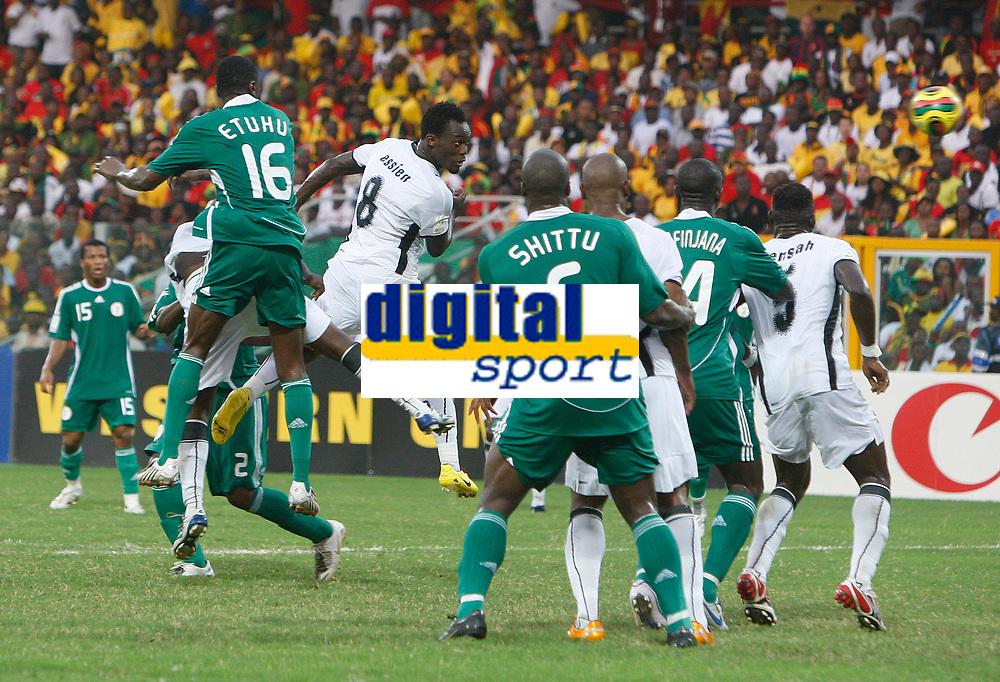 Photo: Steve Bond/Richard Lane Photography.<br />Ghana v Nigeria. Africa Cup of Nations. 03/02/2008. Michael Essien (C, in white) powers home Ghana's equaliser