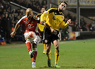 Adam Chambers clear the ball during the Sky Bet League 1 match between Walsall and Sheffield Utd at the Banks's Stadium, Walsall, England on 17 March 2015. Photo by Alan Franklin.