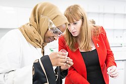 © Licensed to London News Pictures . 26/09/2016 . Liverpool , UK . Shadow Education Minister ANGELA RAYNOR takes a DNA swab along with students studying biology , in a new science lab at Liverpool City College , at a visit during the second day of the Labour Party Conference in Liverpool . Photo credit : Joel Goodman/LNP