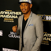 Daniel Jacobs is seen on the red carpet prior to the Mayweather versus Maidana boxing match at the MGM Grand hotel on Saturday, May 3, 2014 in Las Vegas, Nevada.  (AP Photo/Alex Menendez)