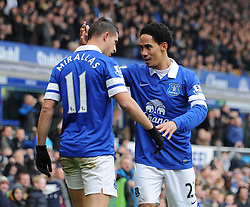 Everton's Steven Pienaar congratulates Everton's Kevin Mirallas on his goal - Photo mandatory by-line: Dougie Allward/JMP - Tel: Mobile: 07966 386802 23/11/2013 - SPORT - Football - Liverpool - Merseyside derby - Goodison Park - Everton v Liverpool - Barclays Premier League