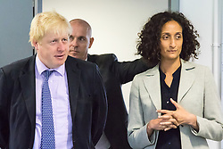 Michaela Community School, Wembley, London, June 23rd 2015. Mayor of London Boris Johnson visits the Michaela Community School, a Free School in Wembley that started taking students in September2014 after battling a certain amount of resistance from locals and unions. During the visit Head Teacher Katharine Birbalsingh took the Mayor on a tour of the school before he participated in a history lesson, prior to sitting down with pupils for brunch. PICTURED: Mayour of London Boris Johnson and Head Teacher Katharine Birbalsingh