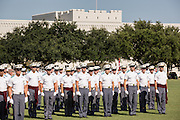Members of the Citadel Military College corps of cadets stand in formation during the first Friday Dress Parade on September 6, 2013 in Charleston, South Carolina. The Friday Dress Parade is a tradition at the Citadel going back to 1843.