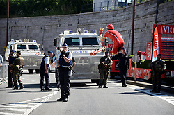 July 3, 2017 - Longwy, Luxembourg - Securite - Heavy police cars with police officers and army personnel (Credit Image: © Panoramic via ZUMA Press)
