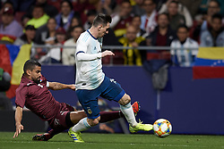 March 22, 2019 - Madrid, Madrid, Spain - Tomas Rincon (Torino) of Venezuela and Lionel Messi (Barcelona) of Argentina competes for the ball during the international friendly match between Argentina and Venezuela at Wanda Metropolitano Stadium in Madrid, Spain on March 22 2019. (Credit Image: © Jose Breton/NurPhoto via ZUMA Press)