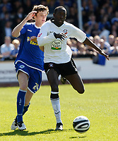 Photo: Steve Bond/Richard Lane Photography. Hereford United v Leicester City. Coca Cola League One. 11/04/2009. Febian Brandy (R) gets in front of Andy King (L)