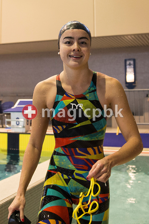 Megan CONNOR of Switzerland on her way out after competing in the women's 50m Freestyle Final during the Swiss Swimming Championships at the Hallenbad Oerlikon in Zuerich, Switzerland, Sunday, March 13, 2016. (Photo by Patrick B. Kraemer / MAGICPBK)