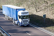 Scania heavy goods vehicle on A12 trunk road in Suffolk, England