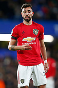 Manchester United's Bruno Fernandes in action during the English Premier League match between Chelsea and Manchester United, Monday, Feb. 17, 2020, at Stamford Bridge, in London, United Kingdom. Manchester United defeated Chelsea 2-0.  (Mitchell Gunn/Image of Sport)