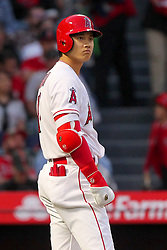 May 18, 2018 - Anaheim, CA, U.S. - ANAHEIM, CA - MAY 18: Shohei Ohtani (17) of the Angels appears to pout as he looks out towards the right field stands during the major league baseball game between the Tampa Bay Rays and the Los Angeles Angels on May 18, 2018 at Angel Stadium of Anaheim in Anaheim, California. (Photo by Cliff Welch/Icon Sportswire) (Credit Image: © Cliff Welch/Icon SMI via ZUMA Press)