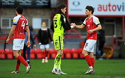 Sam Hornby of Bradford City shakes hands with Charlie Raglan of Cheltenham Town at the final whistle- Mandatory by-line: Nizaam Jones/JMP - 20/02/2021 - FOOTBALL - Jonny-Rocks Stadium - Cheltenham, England - Cheltenham Town v Bradford City - Sky Bet League Two