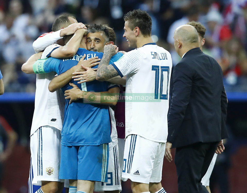July 1, 2018 - Moscow, Russia - Round of 16 Russia v Spain - FIFA World Cup Russia 2018.Russia players celebration with Igor Akinfeev (Russia) at Luzhniki Stadium in Moscow, Russia on July 1, 2018. (Credit Image: © Matteo Ciambelli/NurPhoto via ZUMA Press)