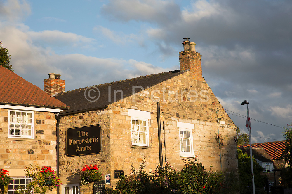 The Forresters Arms pub in Kilburn, a village and civil parish in North Yorkshire, England. It lies on the edge of the North York Moors National Park, Yorkshire, England, UK.