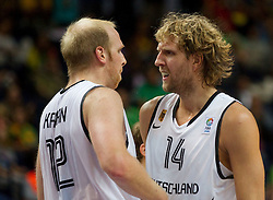 Chris Kaman of Germany and Dirk Nowitzki of Germany react during basketball game between National basketball teams of Germany and Turkey at FIBA Europe Eurobasket Lithuania 2011, on September 9, 2011, in Siemens Arena,  Vilnius, Lithuania.  (Photo by Vid Ponikvar / Sportida)