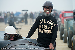 Atsushi Yasui  of Tokyo, Japan, in the pits at TROG West - The Race of Gentlemen. Pismo Beach, CA, USA. Saturday October 15, 2016. Photography ©2016 Michael Lichter.