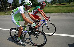 Gregor Gazvoda of Perutnina Ptuj and Stefan Rucker of Elk Haus-Simplon during 1st stage of the 15th Tour de Slovenie from Ljubljana to Postojna (161 km) , on June 11,2008, Slovenia. (Photo by Vid Ponikvar / Sportal Images)/ Sportida)