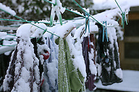snow on clothes line in Dublin Ireland November 2010