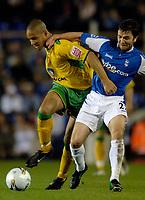 Photo: Glyn Thomas.<br />Birmingham City v Norwicht. Carling Cup.<br />26/10/2005.<br /> Birmingham's Damien Johnson (R) battles for possession with Jason Jarrett.