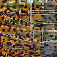 Europe, Ireland, Avoca. Avoca Handweavers Mill, County Wicklow. Woolen bolts and spindles at Avoca Handweaver's Mill.