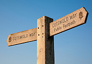 Cotswold way finger post sign, waymarked with a National Trail Acorn, near Charlton Kings in Gloucestershire, England.