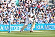 Mark Wood of England plays safe during the 3rd day of the Investec Ashes Test match between England and Australia at the Oval, London, United Kingdom on 22 August 2015. Photo by Phil Duncan.