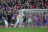 Lamine Kone of Sunderland (L) scores his teams first goal from a tight angle. Premier League match, Crystal Palace v Sunderland at Selhurst Park in London on Saturday 4th February 2017. pic by Steffan Bowen, Andrew Orchard sports photography.