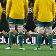 The Wallabies face the All Black's Haka from Ma'a Nonu, (left), Richie McCaw, (centre), and Kieran Read, (right) during the New Zealand V Australia Tri-Nations, Bledisloe Cup match at Eden Park, Auckland. New Zealand. 6th August 2011. Photo Tim Clayton