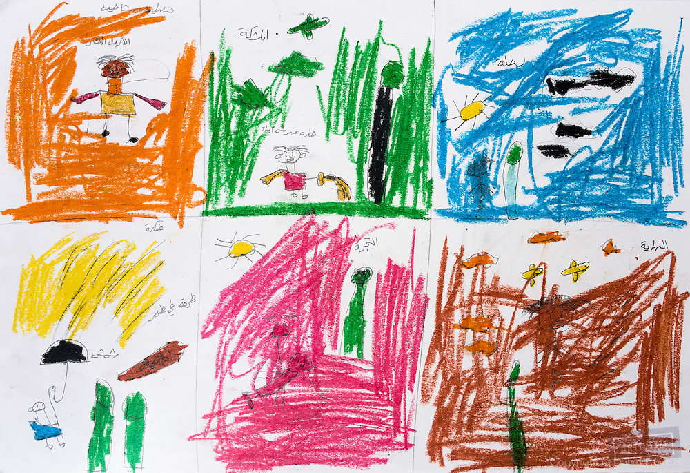 Stories drawn and written by children. We have video and audio of them explaining the drawings.