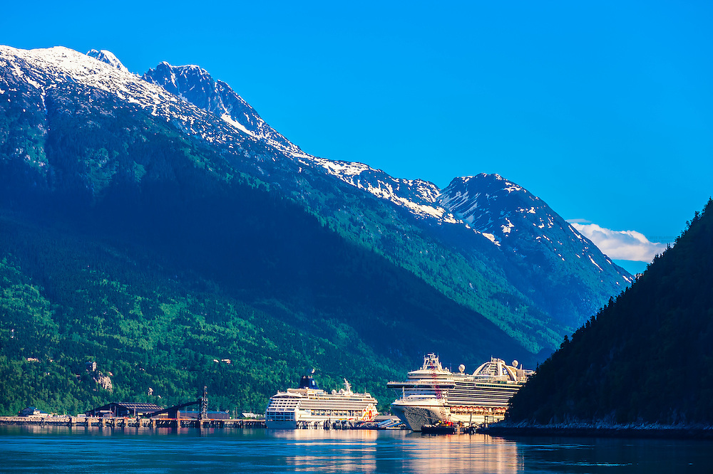 Cruise ships docked in Skagway on the Inside Passage in southeast Alaska USA.