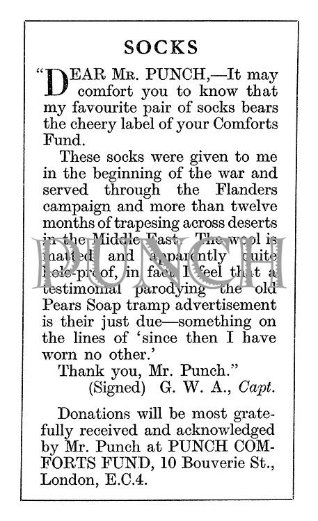 Punch Comforts Fund ad: Socks. Dear Mr Punch....
