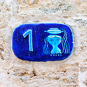 Israel, Jaffa, Ceramic Virgo Zodiac street sign