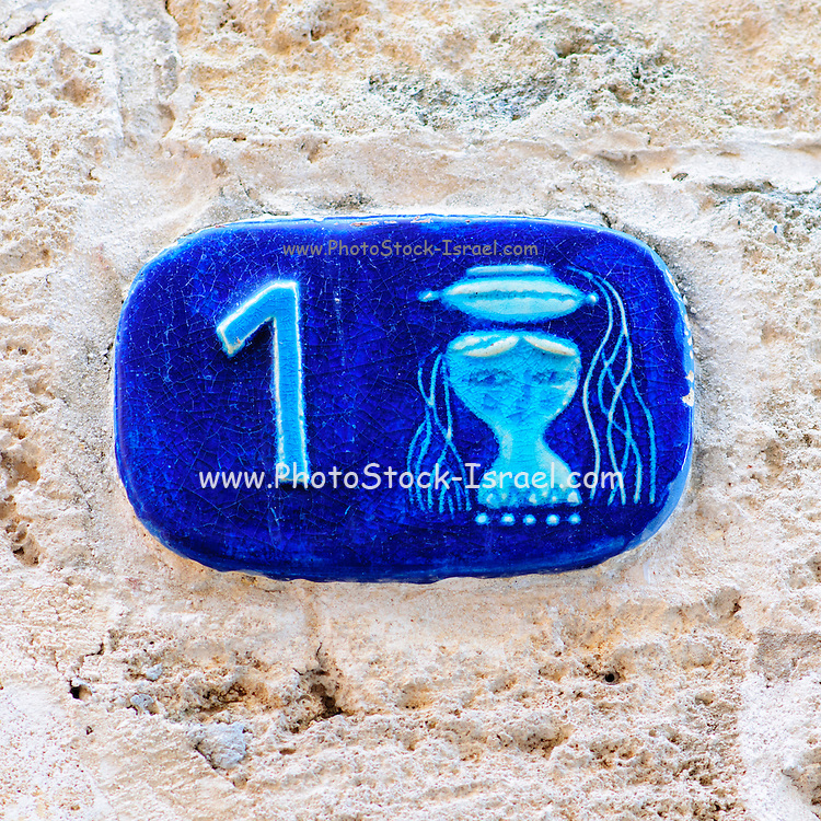 Israel, Jaffa, Ceramic Virgo Zodiac street sign