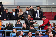 Jamie Redknapp taking his seat in the stands. Skybet football league championship play off semi final, 1st leg match, Wigan Athletic v QPR at the DW Stadium in Wigan, England on Friday 9th May 2014.<br /> pic by Chris Stading, Andrew Orchard sports photography.