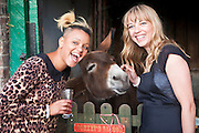 Radio 1 DJ's Gemma Cairney and Sara Cox with a Donkey at Hackney City Farm.  Radio DJ Sara Cox 'does a Delia' hosting a pop up supper for Oxfam.Radio DJ Sara Cox swaps her microphone for an oven to host a special one off pop up restaurant with Oxfam. .The popular radio one DJ cooked a South American themed three course dinner for guests at Hackney City Farm in London. Co-hosted with Oxfam, Sara entertained a varied group of diners including fellow DJs, well known food bloggers and local food producing heroes..Sara Cox said: ?I love cooking and entertaining people so I'm really happy to be 'doing a Delia' and swapping a radio studio for a kitchen for the night to cook up a South American supper for my guests. Hosting the event is a fun and creative way for me to show my support for Oxfam's campaign to share the world's food resources more fairly and eradicate hunger.?