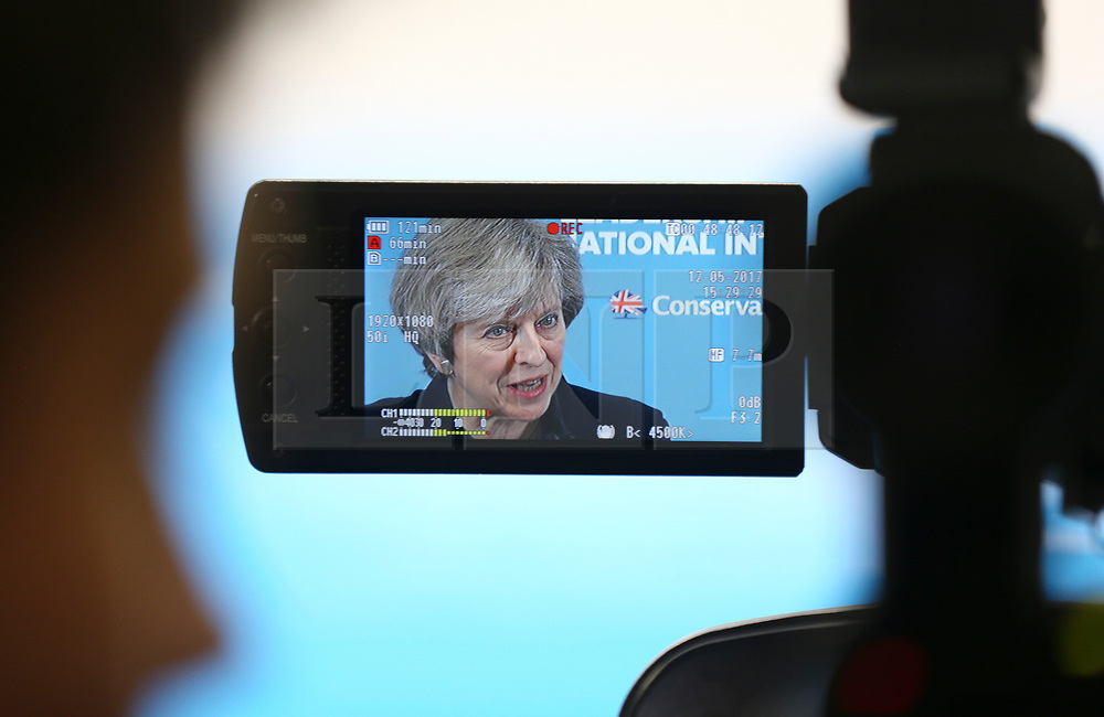 © Licensed to London News Pictures. 12/05/2017.  North Shields UK. Prime Minister Theresa May seen on a camera screen while speaking during a visit to the Linskill Centre in North Shields today on the General Election campaign trail. Photo credit: Andrew McCaren/LNP