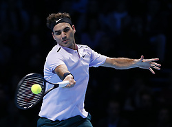 2017?11?18?.    ?????1???——ATP????????????????.       11?18??????????.       ???????????ATP?????????????????????????2?1???????????????.       ????????.(SP) BRITAIN-LONDON-TENNIS-ATP FINALS-GOFFIN VS FEDERER.(171118) -- LONDON, Nov. 18, 2017  Roger Federer of Switzerland reacts after the singles semi-final match against David Goffin of Belgium during the Nitto ATP World Tour Finals at O2 Arena in London, Britain on Nov. 18, 2017. David Goffin won 2-1. (Credit Image: © Han Yan/Xinhua via ZUMA Wire)