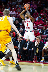 NORMAL, IL - February 15: Dedric Boyd passes the ball back to the middle before he can get trapped during a college basketball game between the ISU Redbirds and the Valparaiso Crusaders on February 15 2020 at Redbird Arena in Normal, IL. (Photo by Alan Look)