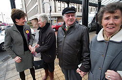 © London News Pictures. 01/03/2013 . Eastleigh, UK.  UKIP candidate, DIANE JAMES MP (far left) speaking to locals outside the part headquarters in Eastleigh, Hampshire after the party came second in the Eastleigh by-election. Photo credit : Ben Cawthra/LNP