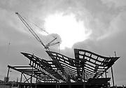 Newport Beach City Hall Under Construction Black and White Photo