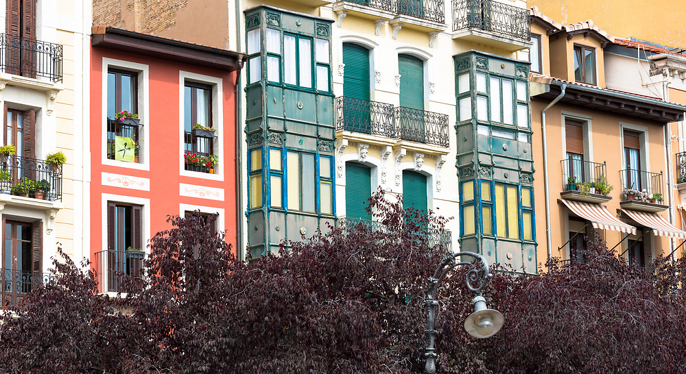 Traditional architecture homes in Pamplona, Navarre, Northern Spain